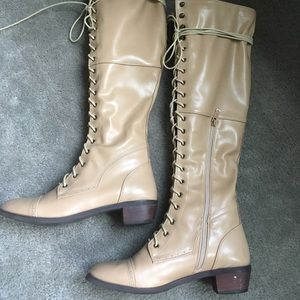 Shoes - Knee high faux leather tan boots size 8.5